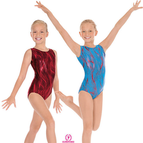 Child Metallic Printed Holographic Design Gymnastics Tank Leotard (3589)
