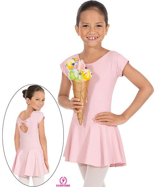 Child Microfiber Cap Sleeve Bow Back Leotard w/Attached Skirt (44285)