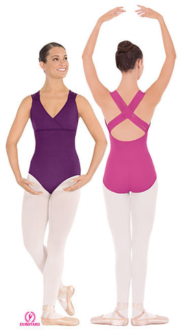 Adult Microfiber Cross Front Leotard w/Woven Lattice Back (4493)