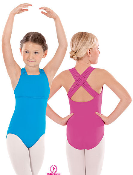 Child Microfiber Leotard w/Woven Lattice Back (4493c)