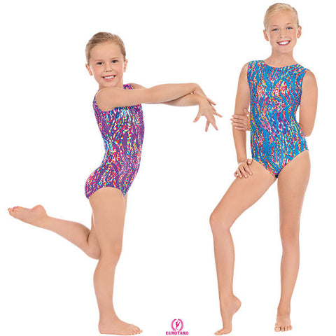 Child Gymnastics Tank Leotard w/Multi Color Print & Sparkle Detail (4789)