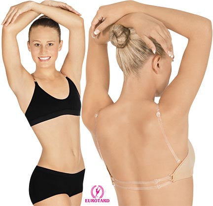 Adult Comfort Fit Bra w/Multi-position Removable Clear Back Straps & Removable,Adjustable Matching and Clear Shoulder Straps (95621)