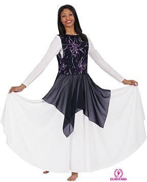 Adult Purple & Silver Sparkle Orchid Detailing, Attached Chiffon Handerchief Skirt (13858)