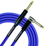 Kirlin Cable IWB-202BFGL-10/RO -10 feet- Straight to Right Angle 1/4-Inch Plug Premium Plus Instrument Cable, Royal Blue Tweed Woven Jacket