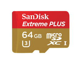 SanDisk Extreme PLUS 64GB microSDXC UHS-I/U3 Card with Adapter (SDSQXSG-064G)