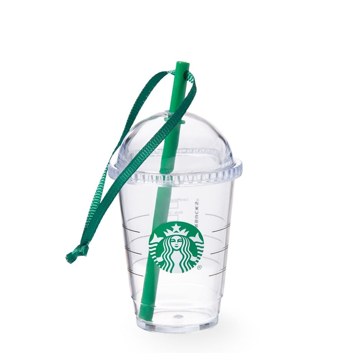 Starbucks Holiday Ornament 2015 Mini Clear Travel Cup with Green Straw