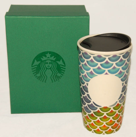 STARBUCKS Colorful Scales Double Wall Ceramic Traveler Tumbler 2016 12 Oz