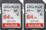 SanDisk ULTRA PLUS 64GB SDXC Card UHS-I Class 10 80MB/s SDSDUNC-064G-GN6IN 2-Pack (Certified Refurbished)