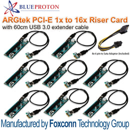 BlueProton ARGtek PCI-E 1x to16x Riser Card with 60cm USB 3.0 (Made by Foxconn) x8 Pack