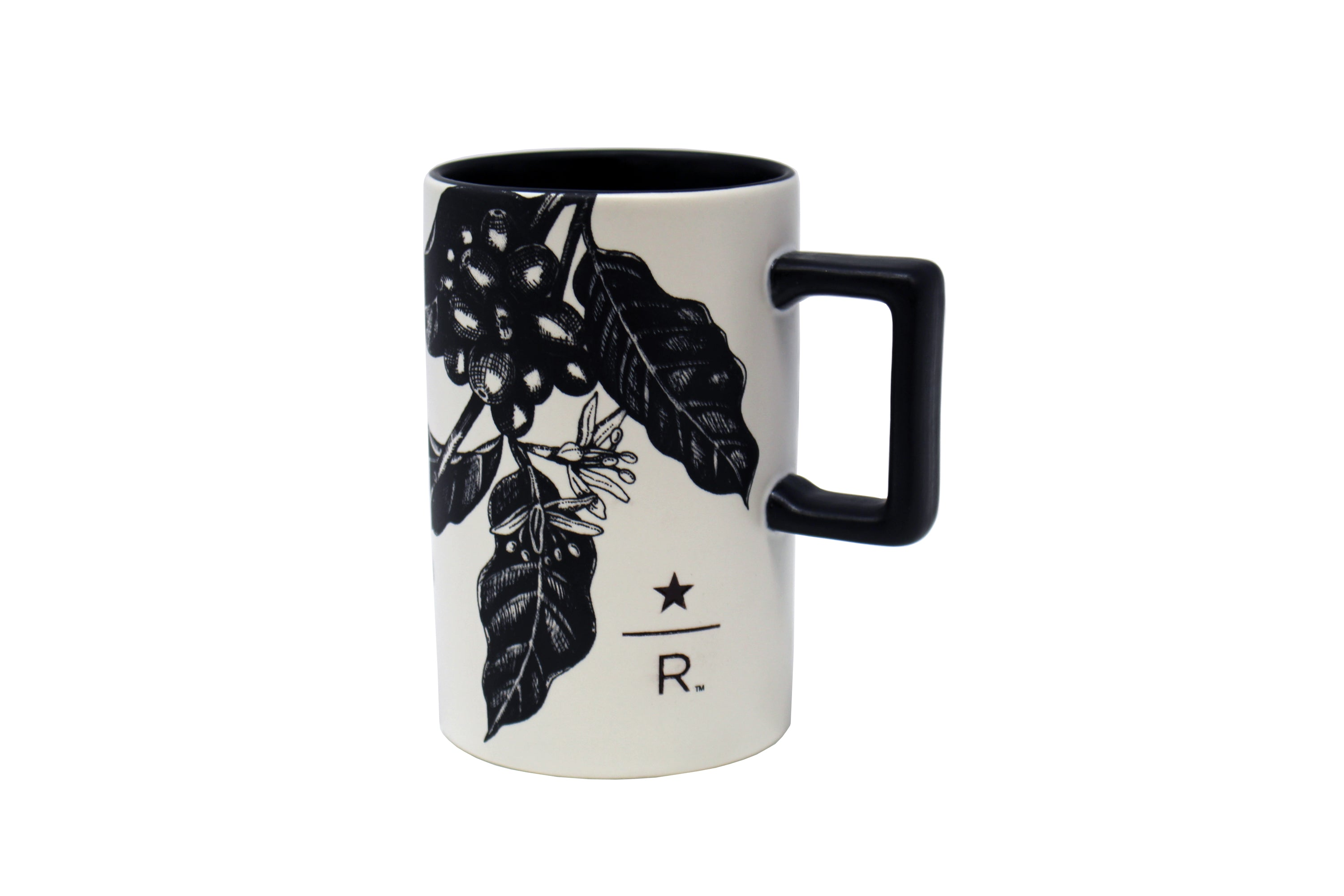 Starbucks Reserve Black Outline Leaves Print Mug, 12 Oz