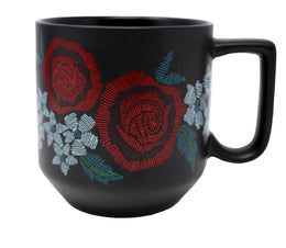 Starbucks 2019 Valentine's Day Red Roses Ceramic Mug 10 Oz, Black