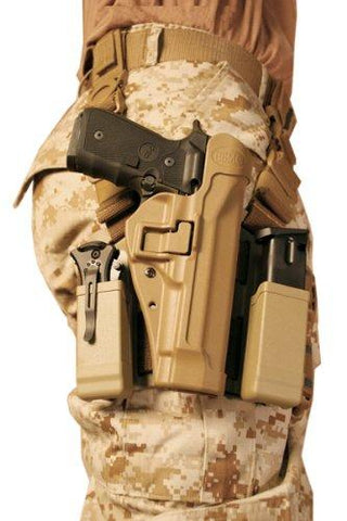 BLACKHAWK! Serpa Level 2 Tactical Holster USMC, Coyote Tan/Size 04, Left Hand, (Beretta 92/96/M9 Std or A1 w/rails (NOT Brig/Elite) 430504CT-L
