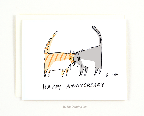 Happy Anniversary - Headbutt Cat Card