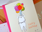 Balloon Ride- Birthday Cat Card