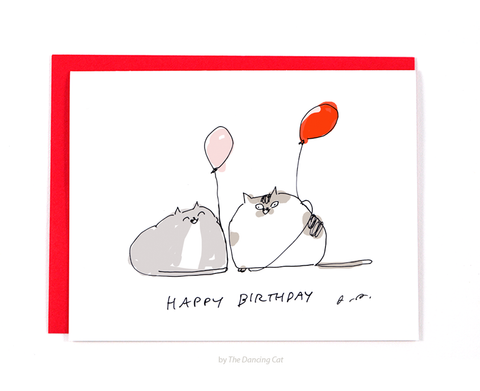 HBD - Balloon Cat Birthday Card