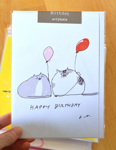 Birthday Balloons - Large Cat Card