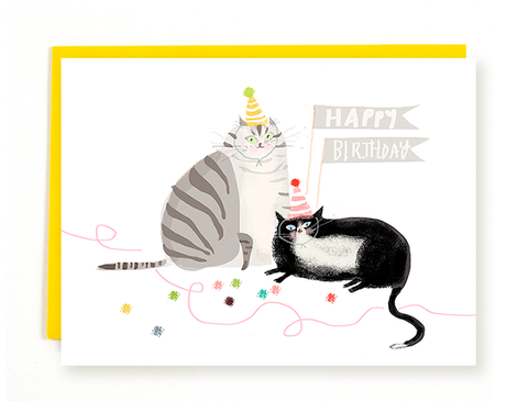 Happy Birthday Card- Tux & Grey