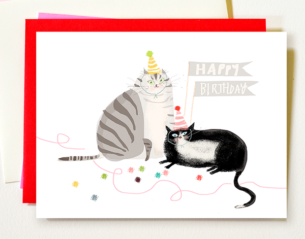 Birthday Party Balls - Birthday Cat Card