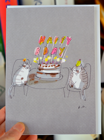 Bday Candles Large Cat Card