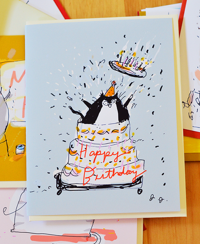 Giant Cake - Birthday Cat Card