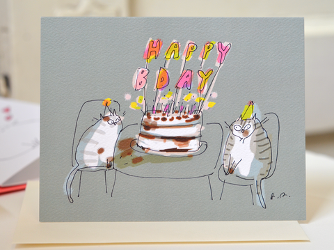 Birthday Candles Cat Card