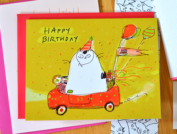 Happy Birthday Card - Birthday Car Cat