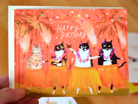 Tiki Cat Birthday Card