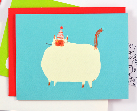 Fat Cat Birthday Card