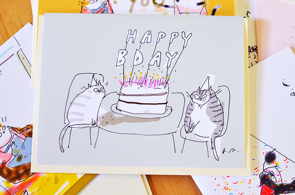 Pink Candles - Birthday Cat Card
