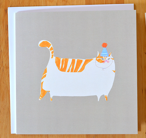Orange Cat Bday Card- Square Card