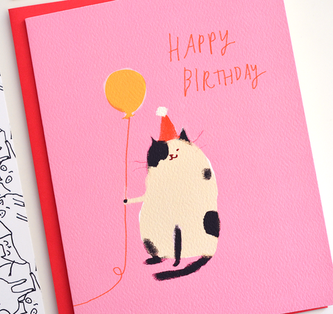 Happy Birthday Cat Card - Pink