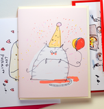 Pink Birthday Cat Card