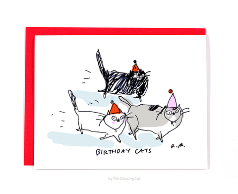 all cards  the dancing cat, Birthday card
