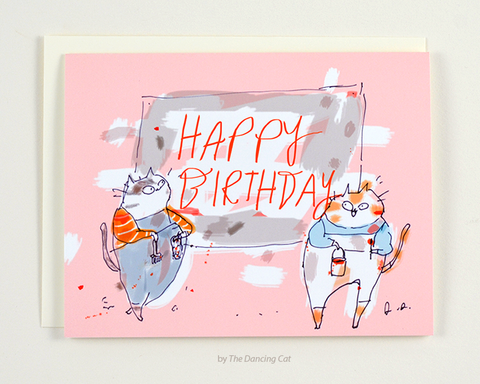 Happy Birthday Cat Card - Painters