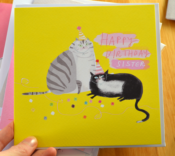 Happy Birthday Sister - Large Cat Card