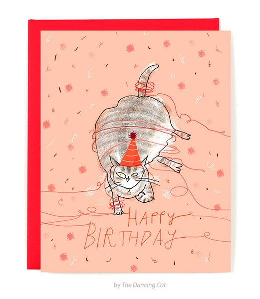Happy Birthday Cat Card - String Time