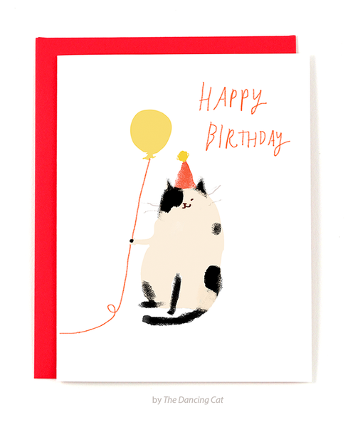 Happy Birthday Cat Card - Black & Tan
