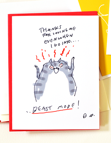 Funny Cat Card- Beast Mode