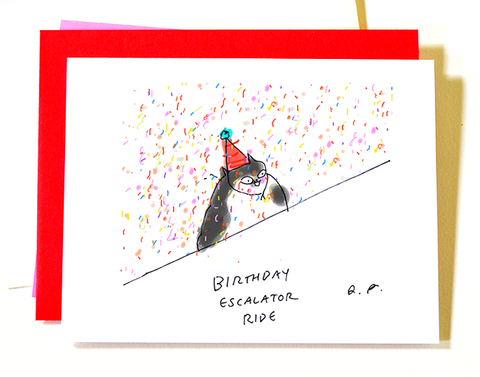 Birthday Escalator Ride - Funny Birthday Cat Card