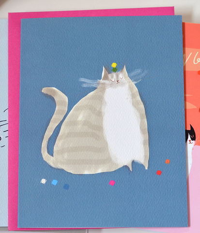 Big Grey Cat Card