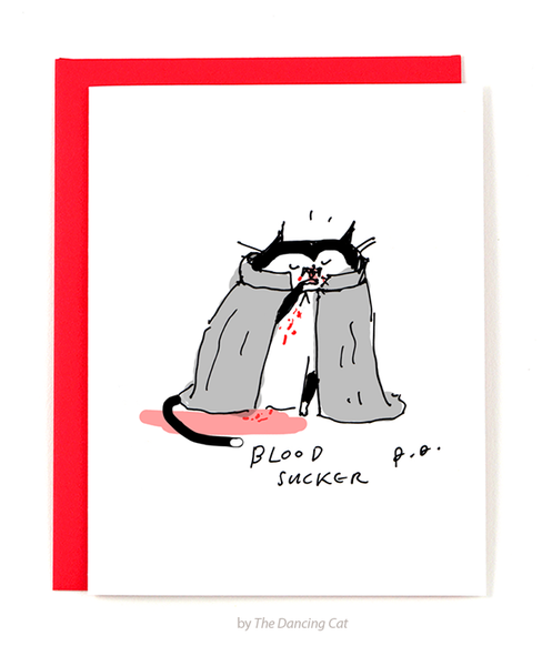 Halloween Cat Card - Bloodsucker
