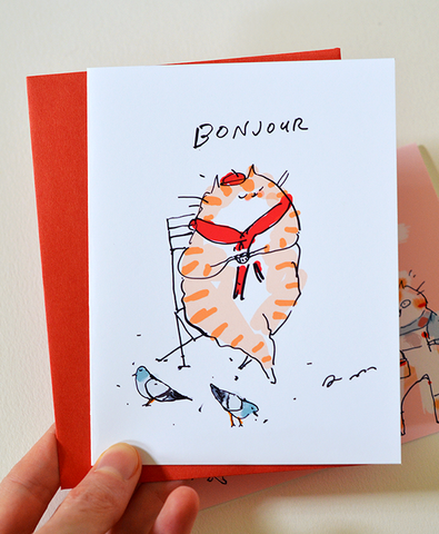 Bonjour Coffee Cat Card