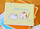 Bonjour Cat Card - Two Cats