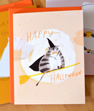 Broomstick Cat - Halloween Card