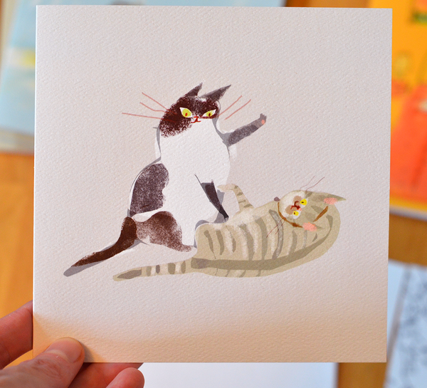 Cat Fight - Square Card