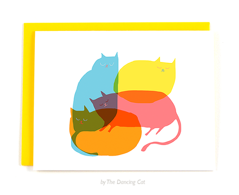 Cat Pile Card -Modern Cats