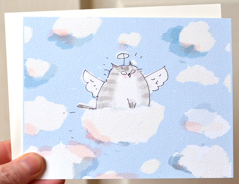 Angel Cat - Cloud Ride - Cat Sympathy Card