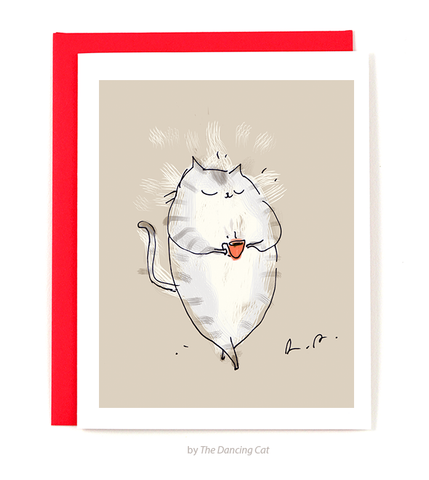 Coffee Cat Card - Cafe Cat