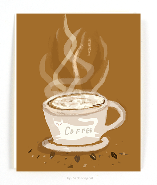 Coffee Cup Cat Card