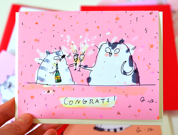 Congrats Cat Card - Champagne Cats